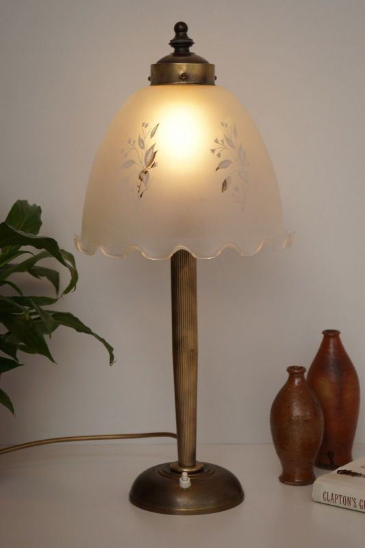 Wunderschöne original Jugendstil Salon Tischlampe Tischleuchte 1920 Messing