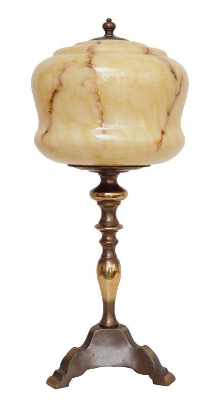 Wunderschöne original Jugendstil Schreibtischlampe Tischleuchte Messing um 1920