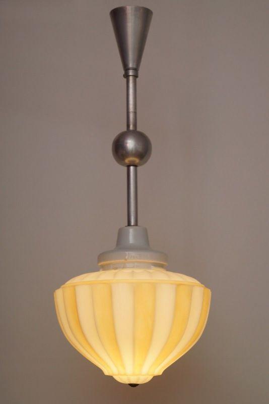 Einzigartige original Art Déco Deckenleuchte Flurlampe Hängeleuchte Aluminium