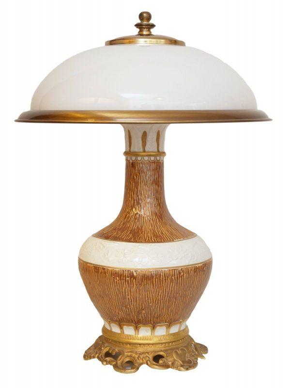 Tolle Landhaus Tischlampe Frankreich Steingut Porzellan gemarkt