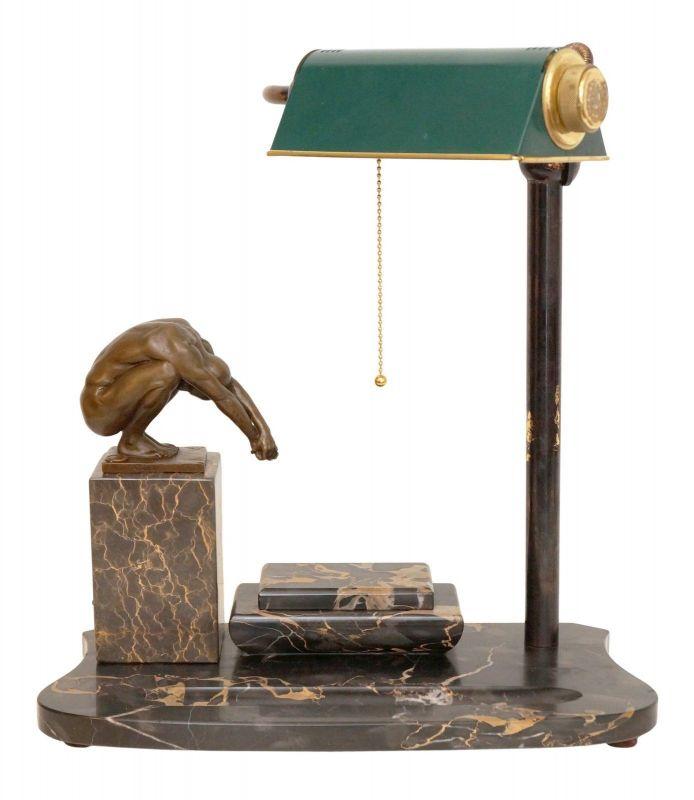 Weltweites Unikat Design Art Déco Schreibtischlampe Marmor Akt Tischleuchte