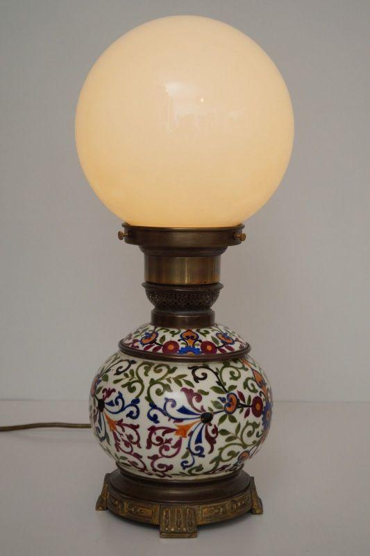Einzelstück Jugendstil Landhaus Tischleuchte Keramik Opalglas