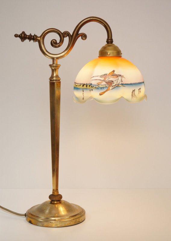 Einmalig schöne original Jugendstil Leselampe Tischleuchte asiatische Glasschirm