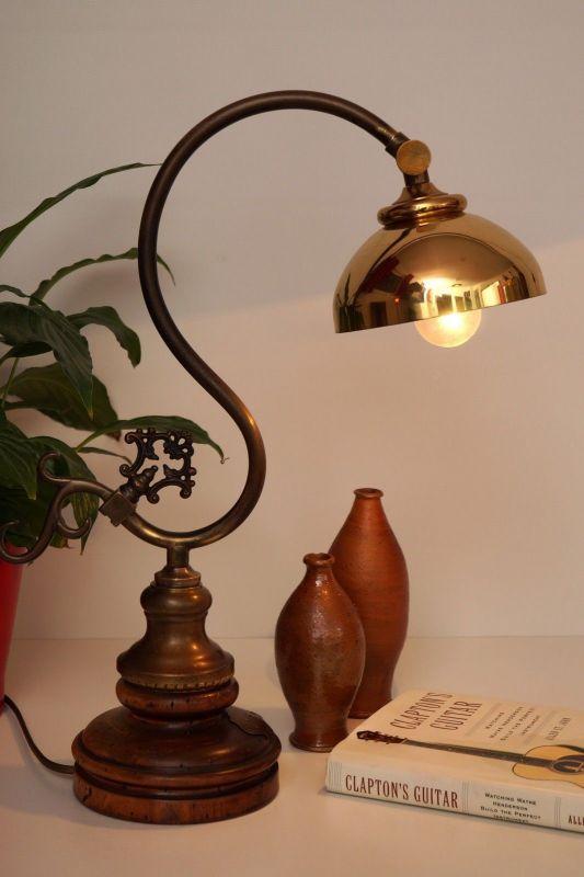 Tolles Einzelstück Jugendstil Landhaus Schreibtischleuchte Tischlampe Messing