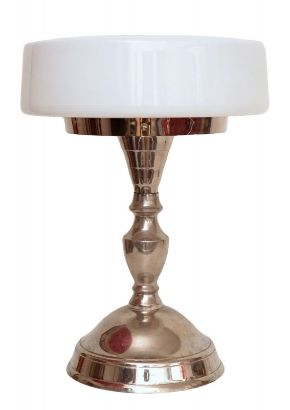 Unikat 70er Jahre Design Tischleuchte Lampe Chrom Nickel Opalglas Bauhaus