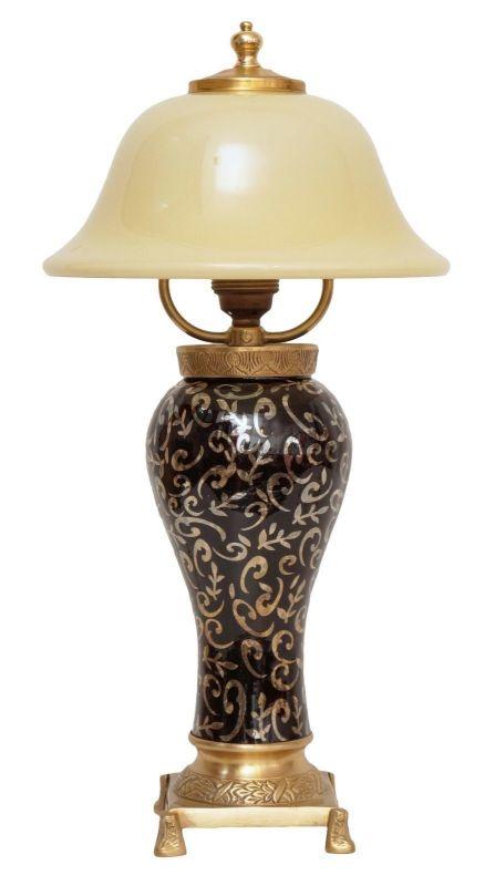 Wunderschöne unikate Jugendstil Tischlampe Nachttisch craqueliertes Glas