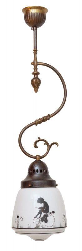 Original Jugendstil Hängeleuchte Scherenschnitt 1910 Messinglampe Deckenlampe