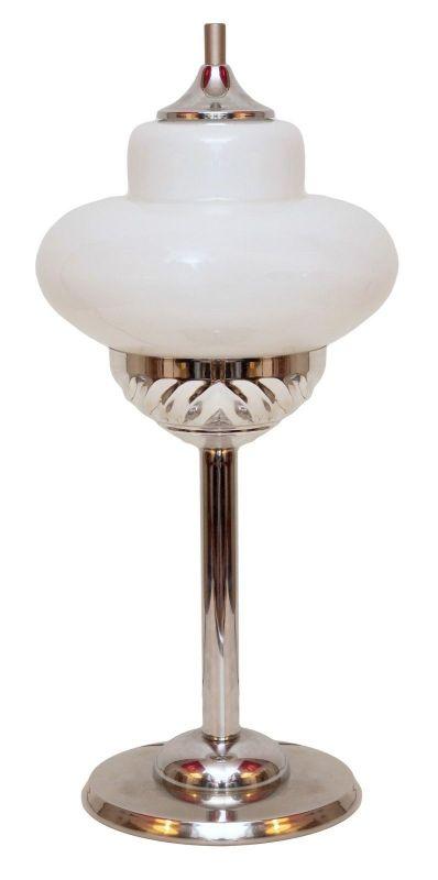 Unikat Bauhaus Design Tischlampe White Eclipse Chrom Art Déco