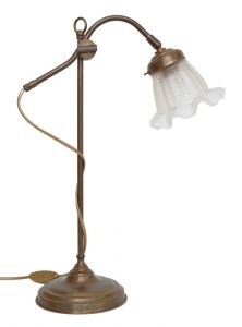 Sehr schöne klassische franz. original Jugendstil Bankerlampe Leselampe Messing