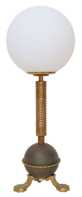Original Jugendstil Tischlampe Messinglampe Berlin Patina Opal 1920
