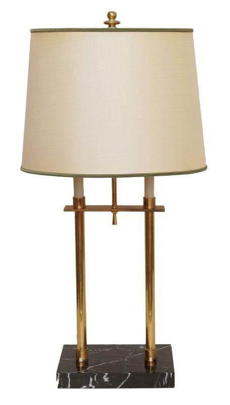 Art Déco Bouilotte Hotel Tischlampe Nachttisch Marmor Messing 70 cm hoch