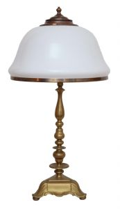 Sehr große original Jugendstil Tischleuchte Salonlampe Messing 66 cm Bakelit
