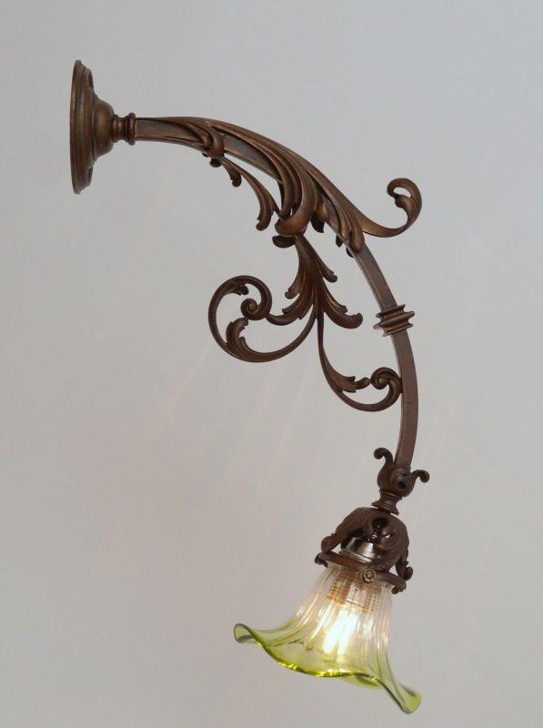 Einmalig schöne original Jugendstil Wandleuchte um 1900 Bilderlampe Wandlampe
