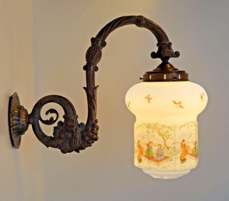 Asia Jugendstil Ära Original Wandlampe Große Marseille Sehr Antike roQedxWCB