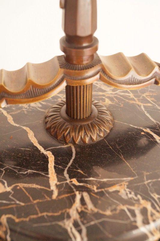 Einmalige original Jugendstil Art Déco Stehlampe Bronze Mamor neuer Schirm 8