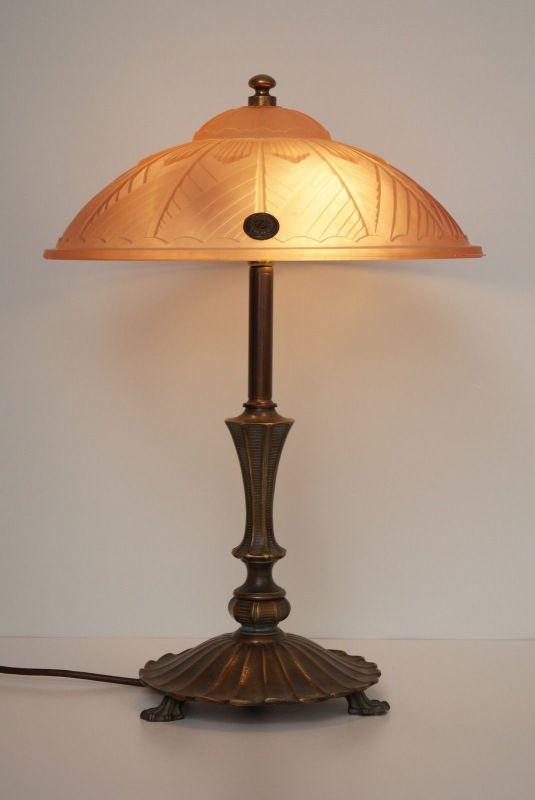 Sammlerstück französische original Degué Art Deco Schreibtischlampe Messing 1920