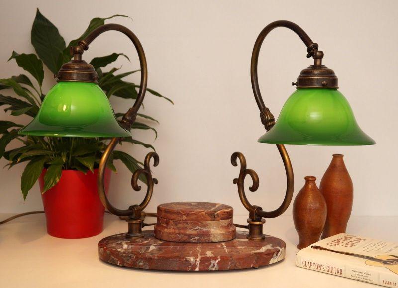 Bankerleuchte Einzigartige original Jugendstil Schreibtischleuchte um 1920 Lampe 3