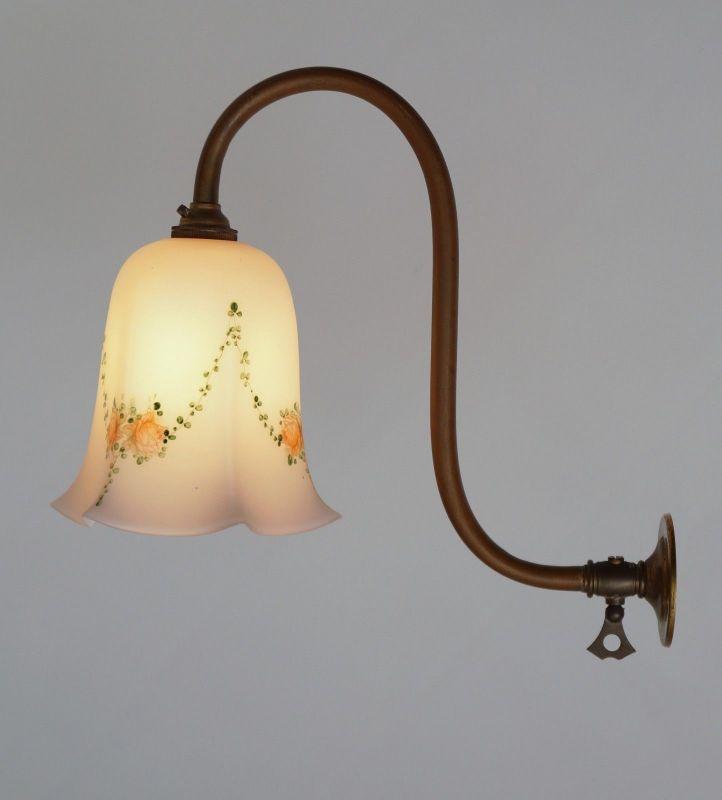Wunderschöne original Jugendstil Wandlampe rosa 1910 Messinglampe Berlin