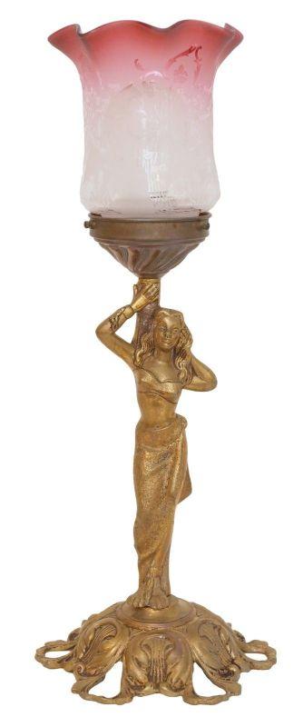 Wunderschön romatische Jugendstil Messinglampe Berlin Tischleuchte Schreibtisch