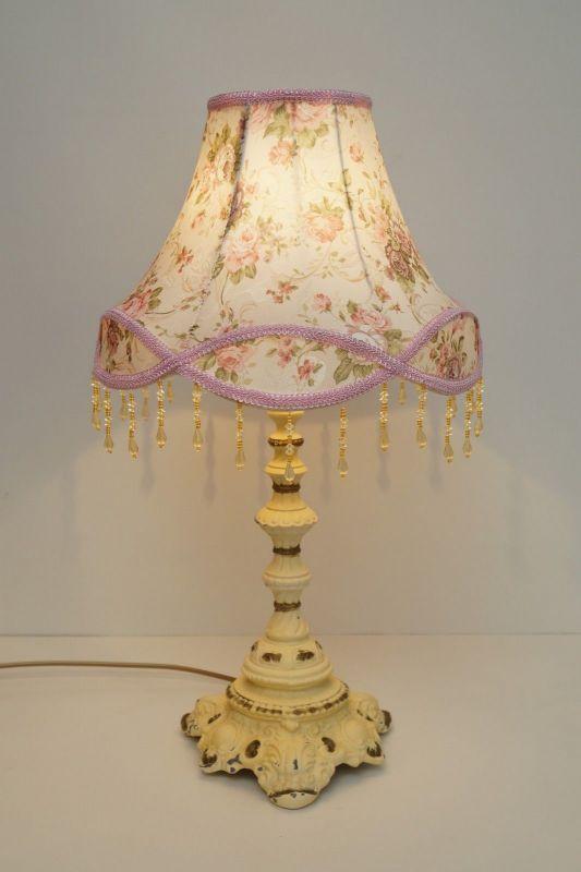 Tolle romantische Jugendstil Tischlampe Shabby Chic neuer Stoffschirm Messing