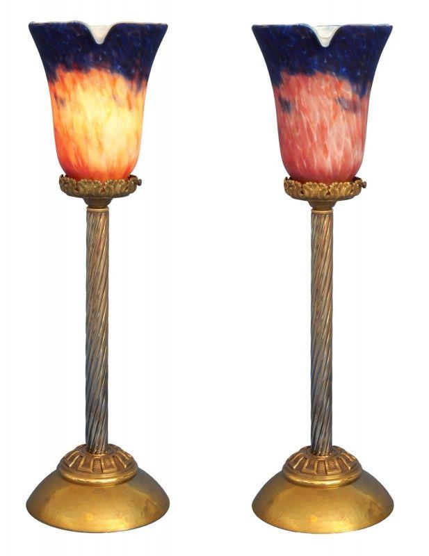Klassische Empire Tischleuchte Messing um 1920 Jugendstil Tischlampe