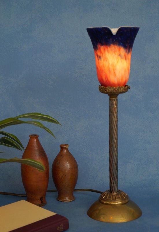 Klassische Empire Tischleuchte Messing um 1920 Jugendstil Tischlampe 3