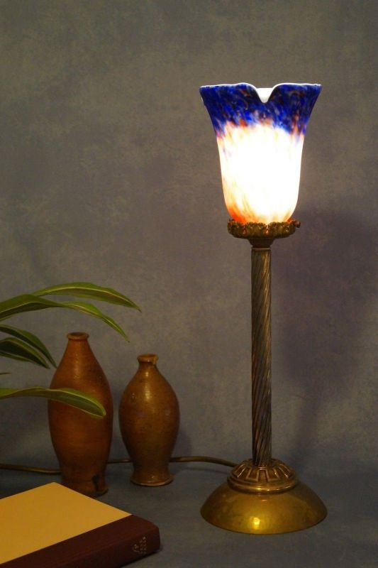 Klassische Empire Tischleuchte Messing um 1920 Jugendstil Tischlampe 4