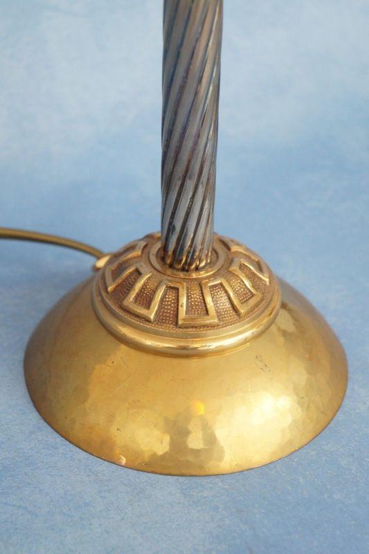 Klassische Empire Tischleuchte Messing um 1920 Jugendstil Tischlampe 6