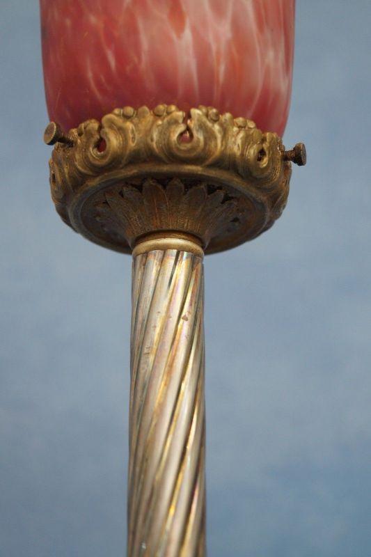 Klassische Empire Tischleuchte Messing um 1920 Jugendstil Tischlampe 7