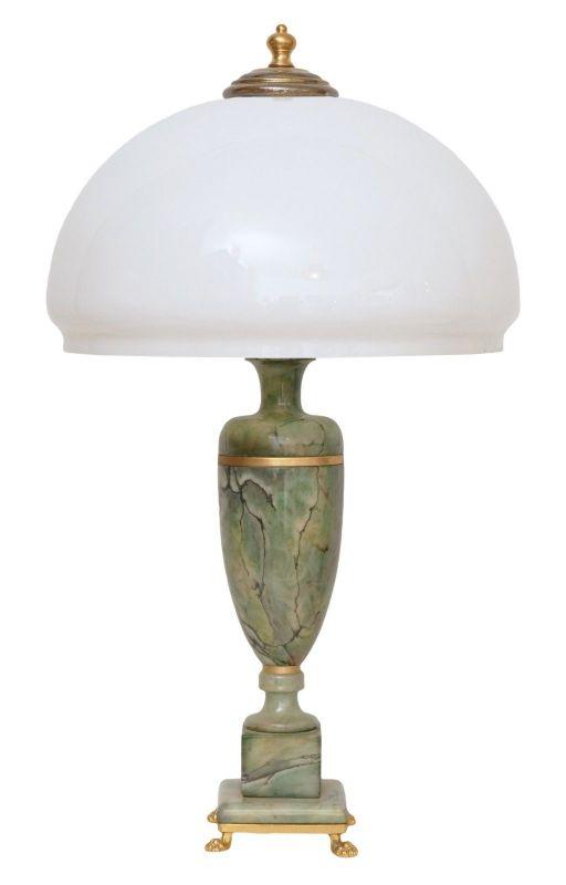Klassische Art Déco Schreibtischleuchte Alabaster Opalglas Messing Löwenfüße