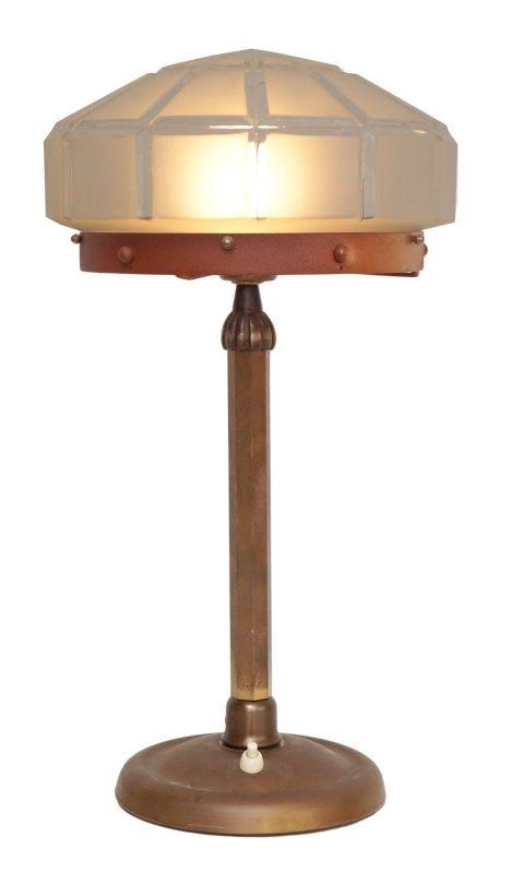 Herrliches Einzelstück orig. Jugendstil Schreibtischlampe Tischleuchte Messing 1