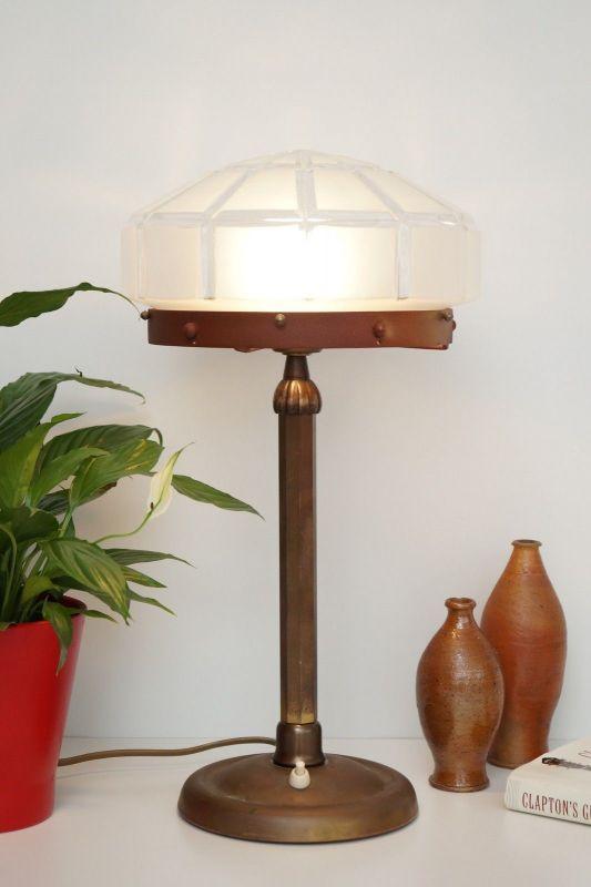Herrliches Einzelstück orig. Jugendstil Schreibtischlampe Tischleuchte Messing 2