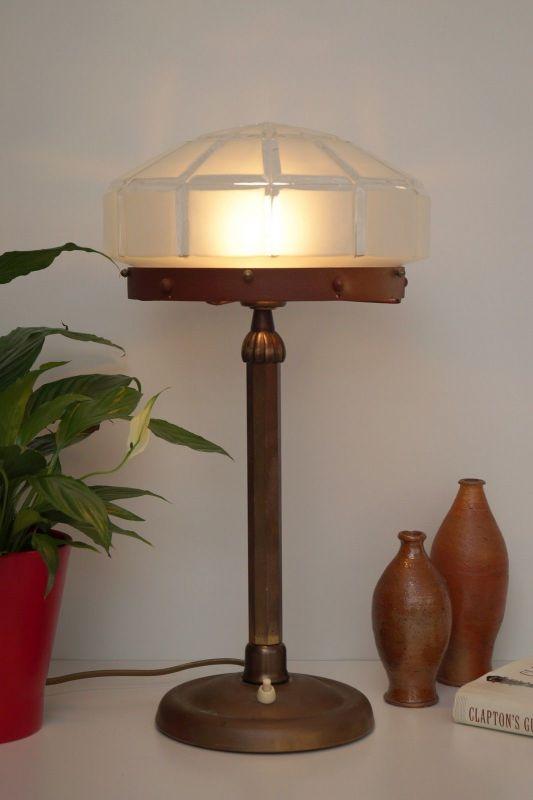 Herrliches Einzelstück orig. Jugendstil Schreibtischlampe Tischleuchte Messing 3