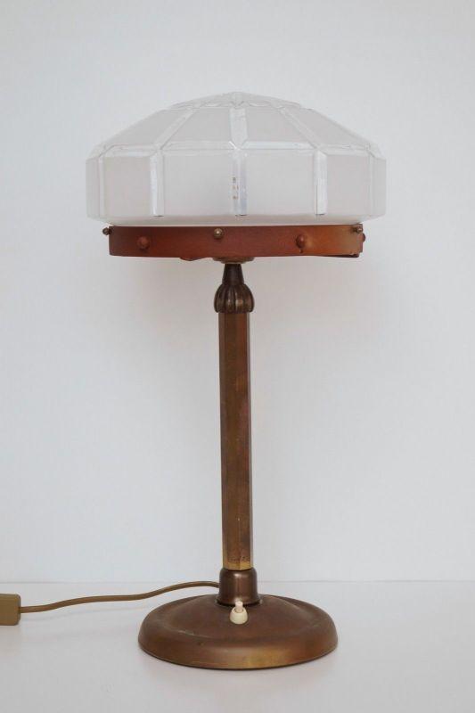 Herrliches Einzelstück orig. Jugendstil Schreibtischlampe Tischleuchte Messing 4