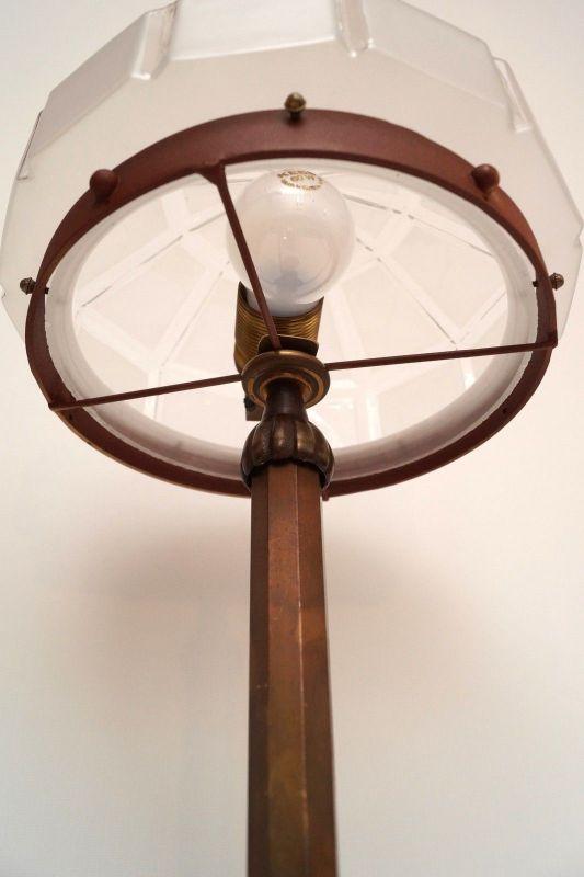 Herrliches Einzelstück orig. Jugendstil Schreibtischlampe Tischleuchte Messing 9
