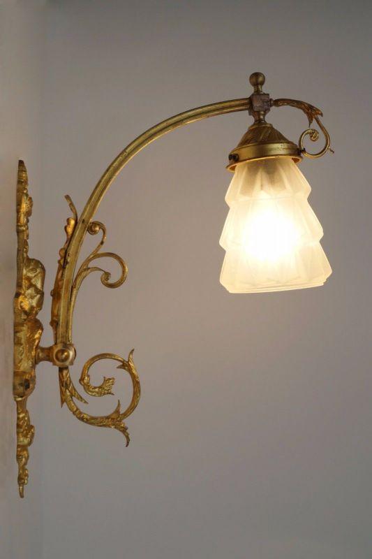 Jugendstil Wandlampe Feuervergoldet um 1900 original 0