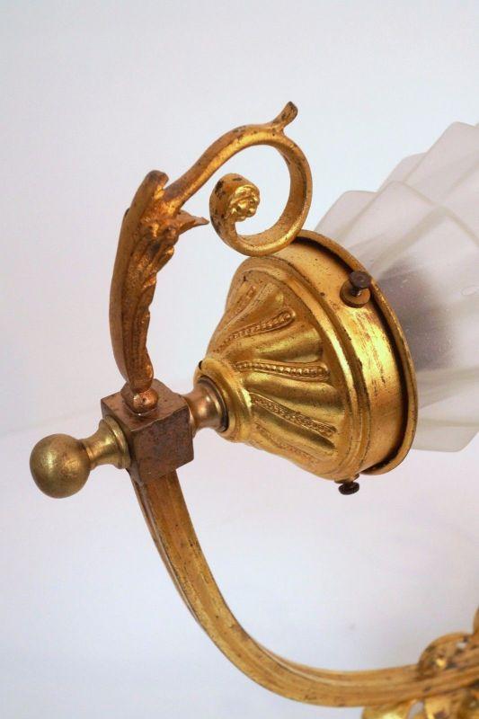 Jugendstil Wandlampe Feuervergoldet um 1900 original 3