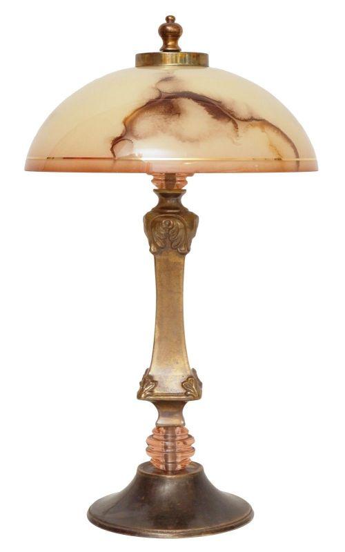Sehr elegante Jugendstil Tischleuchte Messinglampe um 1950er Unikat