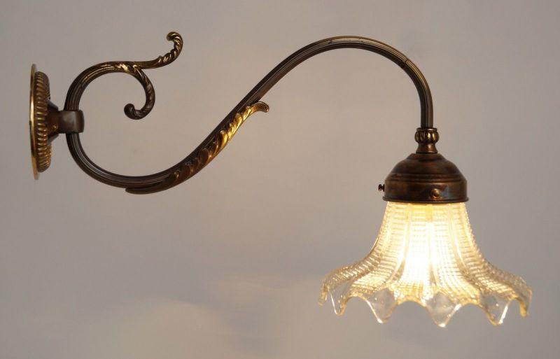Herrliche französische original Jugendstil Messing Wandlampe Wandleuchte 1920