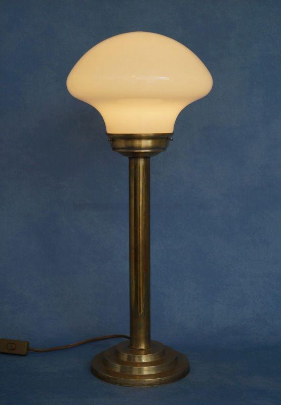 Klassische Art Déco Schreibtischleuchte Mid Century Tischlampe Messing Pilz 1