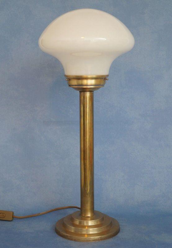 Klassische Art Déco Schreibtischleuchte Mid Century Tischlampe Messing Pilz 3