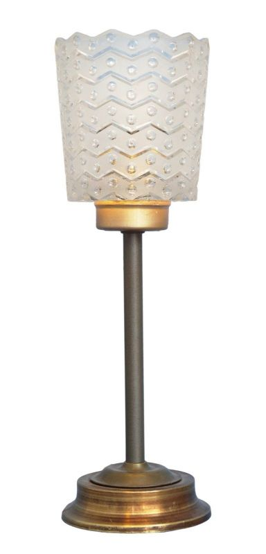 Einmalig schöne original Art Deco Tischlampe Salonleuchte Kristall Messing 1930