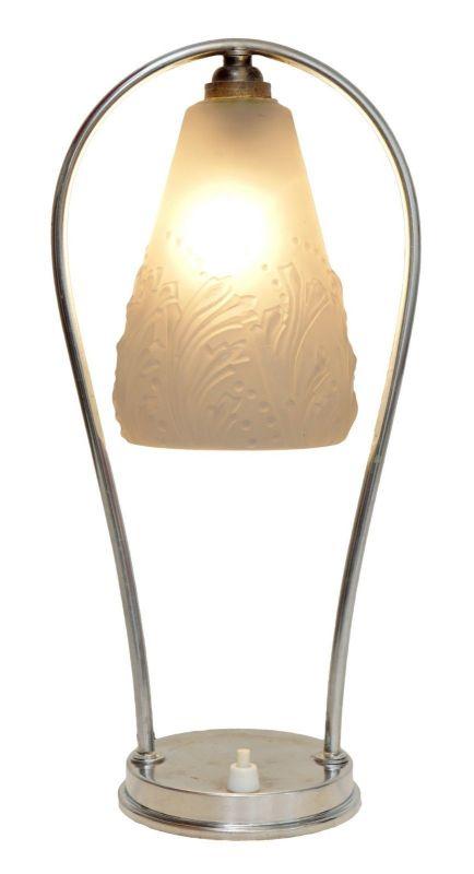 Französische original Art Déco Tischleuchte Lampe Chrom vernickelt um 1930