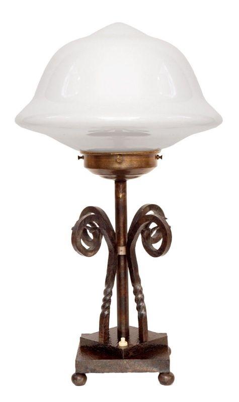 Unikat original Art Déco Lampe Tischleuchte gehämmertes Schmiedeeisen um 1940