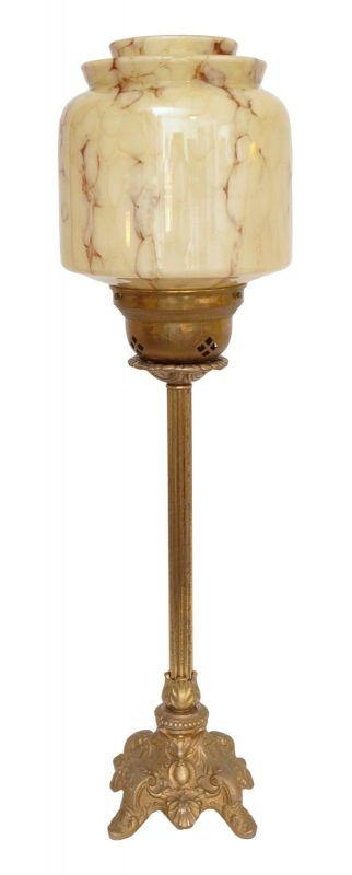 Große original Jugendstil Art Déco Tischleuchte Lampe Messing 1930 Opalglas