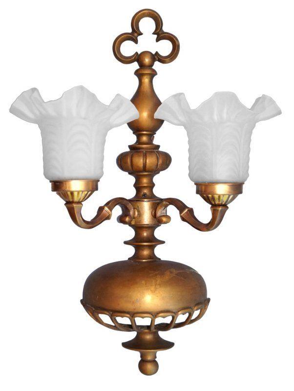 Sehr große original Jugendstil Messing Wandlampe zweiflammig um 1920