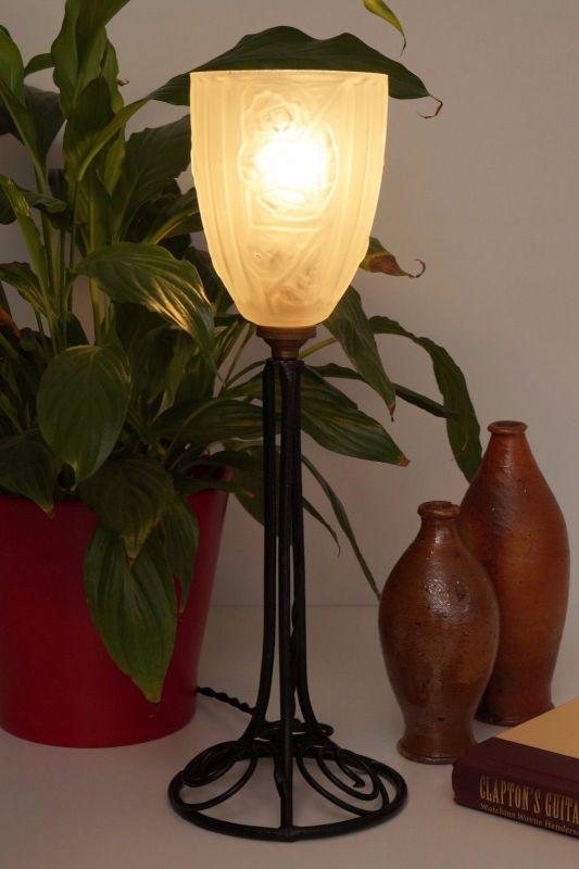Klassische französische original Jugendstil Art Nouveau Tischlampe Lampe 2