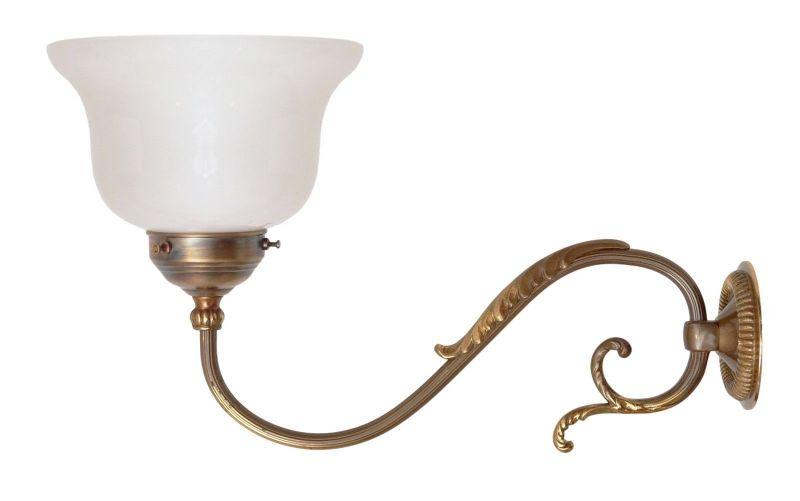 Tolle original Jugendstil Messinglampe Wandlampen Wandleuchte Opalglas 1920