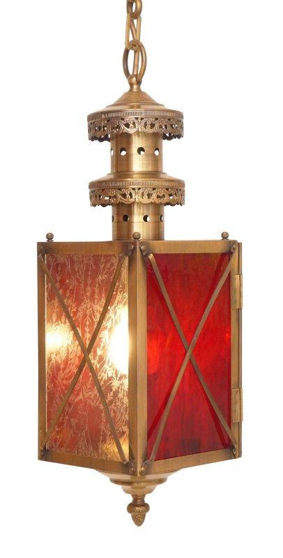 Einmalige Jugendstil Flurlaterne Deckenlampe Hängeleuchte Messing Eisblumenglas