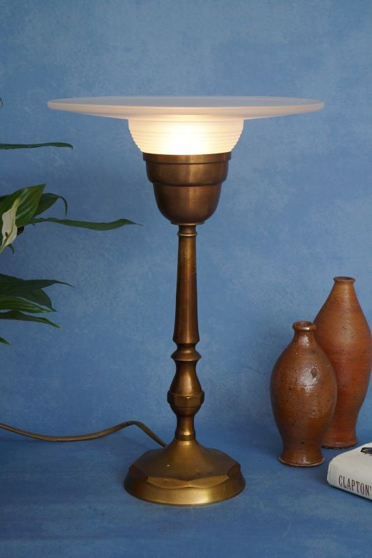 Sehr elegante original französische Art Déco Tischleuchte Lampe Leuchte Messing 1